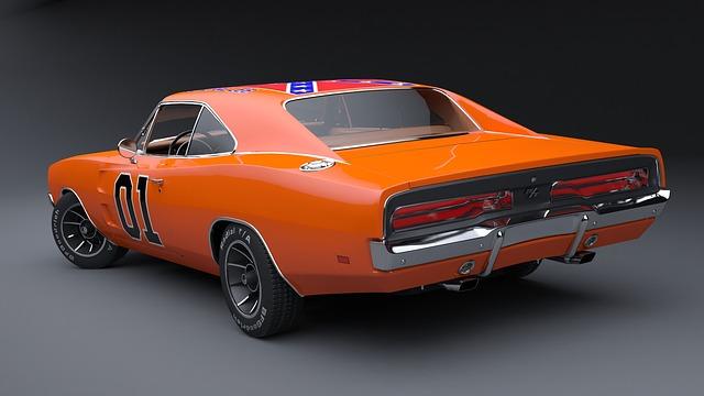 Pomarańczowy Dodge Charger